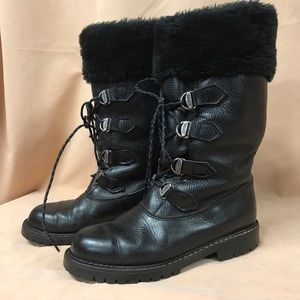SOREL Outdoor Boot Leather 8 Lace-Up Black Fleece